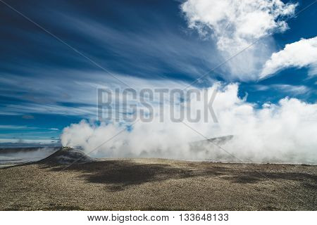 Iceland geyser and geothermal events with landscape