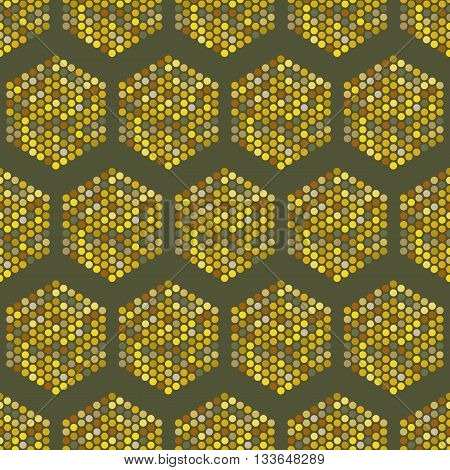 Hexagon seamless pattern-vector illustration. The hexagon consists of small circles.Hexagon multicolored.