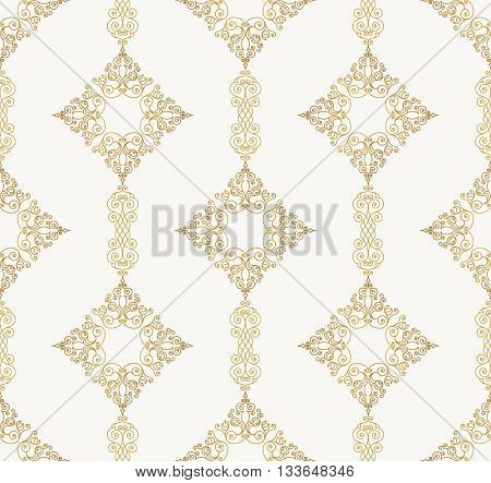 Vector seamless pattern with art ornament. Vintage elements for design in Victorian style. Ornamental lace tracery background. Ornate floral decor for wallpaper. Endless eastern texture