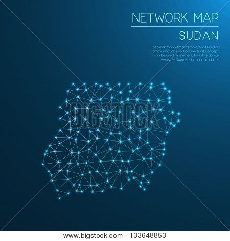 Sudan Network Map. Abstract Polygonal Map Design. Internet Connections Vector Illustration.