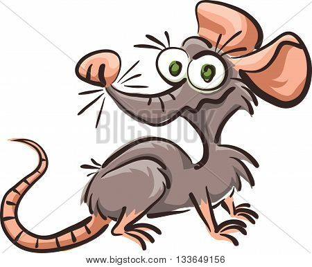funny cartoon rat vector sketch isolated on white