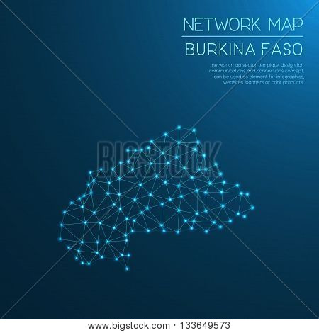 Burkina Faso Network Map. Abstract Polygonal Map Design. Internet Connections Vector Illustration.
