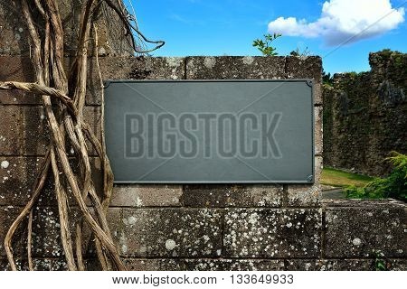Medieval old plate on old stone wall with blue sky and plants