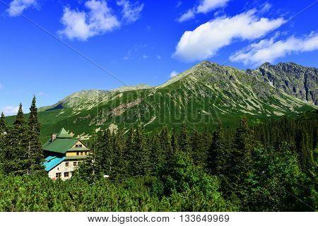 Mountain shelter in polish Tatras. Beautiful landscape.