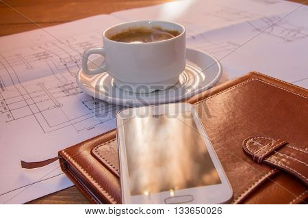 drawing, project, cdrawing, project, coffee Cup mobile phone diary closeupoffee Cup mobile phone diary closeup