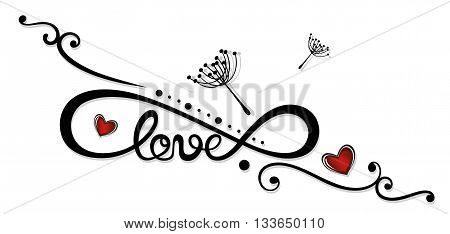 Infinity and lettering with hearts, Tattoo for Valentines Day