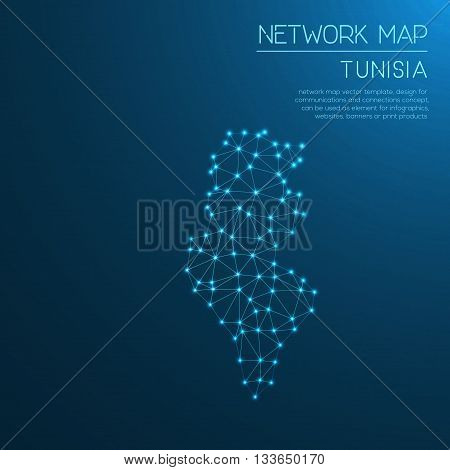 Tunisia Network Map. Abstract Polygonal Map Design. Internet Connections Vector Illustration.