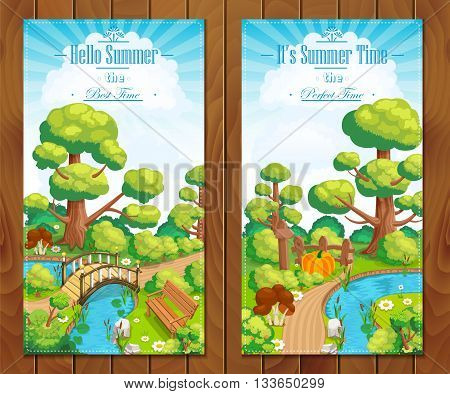Summer vacation landscapes vertical banner vector illustration