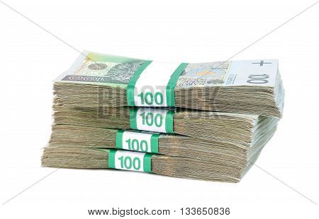 Polish banknotes in bundles isolated on white background