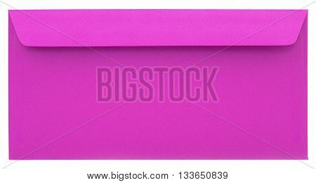 Pink paper envelope isolated on white background