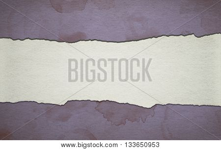 Background made of old paper with torn stripe and coffe stains