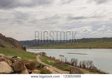 Ili River Tamgaly Tas Kazakhstan, spring 2016