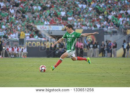 Jesus Duenas Kicking The Ball During Copa America Centenario