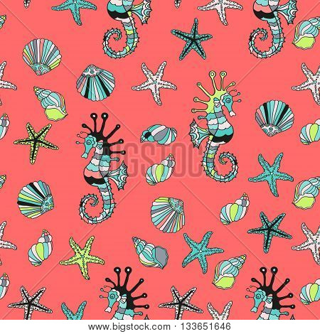 Seamless pattern with sea shells, starfish and sea horse on a red background. Summer vector illustration. Cartoon design. Red sea.