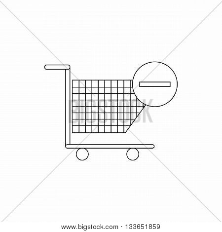 Shopping cart with minus icon in thin line style isolated on white background
