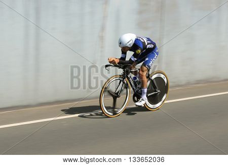 APELDOORN, NETHERLANDS-MAY 6 2016: Cyclist of pro cycling team Etixx-Quick Step during the Giro d'Italia prologue time trial.