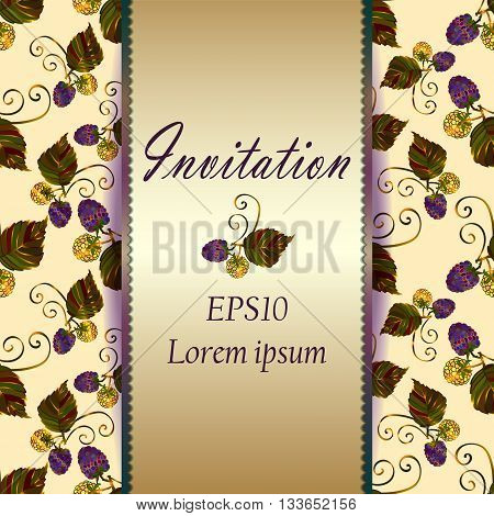 Modern wedding invitation card with floral elements. Save the date card with blackberry. Pastel greeting card template. Invitation card with the blackberry. Eps 10