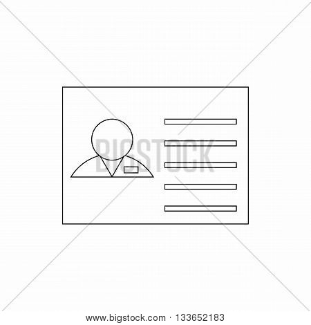 Identification card icon in thin line style isolated on white background