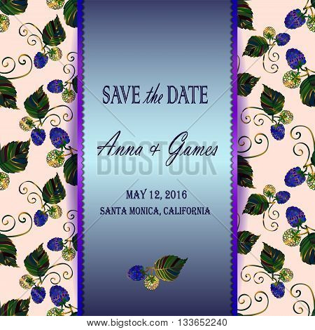 Modern wedding invitation card with floral elements. Save the date card with blackberry. Blue greeting card template. Invitation card with the blackberry. Eps 10