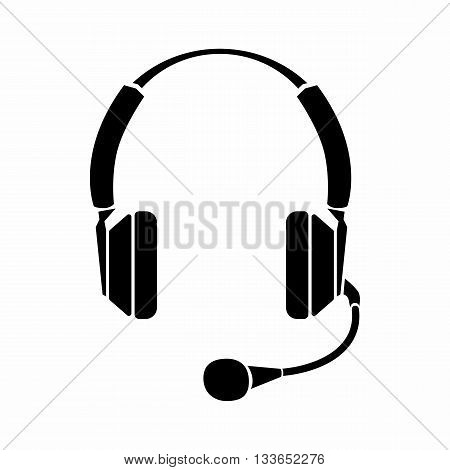Headphones icon in simple style isolated on white background. Device symbol