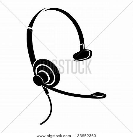 Headphones with microphone icon in simple style isolated on white background. Device symbol