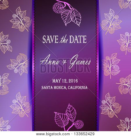 Modern wedding invitation cards with floral elements. Save the date card with the blackberry. Purple greeting card template. Invitation card with the blackberry.