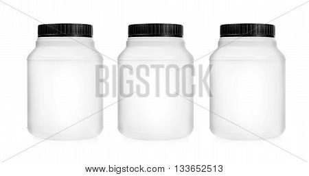 Three plastic jars set in a row isolated on white background