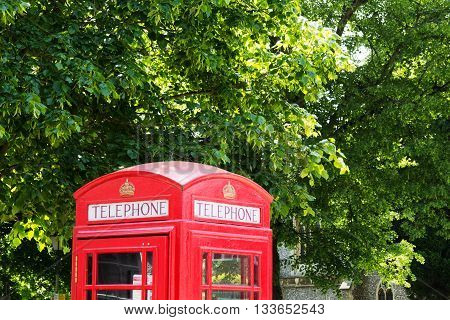 Red Telephone Box Against A Background Of Trees