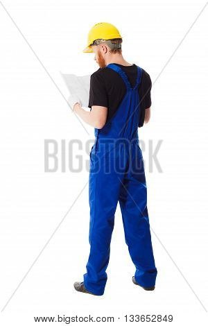 Man Builder In The Jumpsuit, Isolated