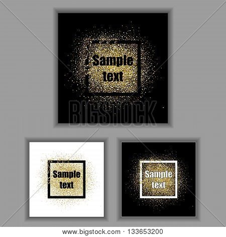 Gold glitter frames set. Gold background for flyer, poster, sign, banner, web, header. Abstract golden background for text, type, quote. Gold blur card collection. Square frames with golden sparkles.