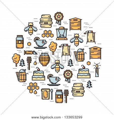 Round card with apiary thin line colored icons set. Bee honey hive beekeper jar smoker extractor refractomoter and forest icons. Vector illustration.