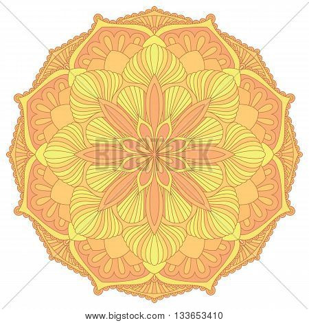 Mandala. Oriental decorative element.Islam, Arabic, Indian, ottoman motifs. Vector illustration of mandala. Colorful mandala symbol. Ethnic design element.