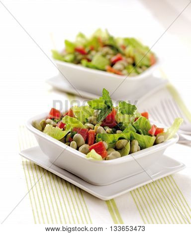 A salad with broad beans Spanish ham and lettuce.