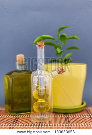 Two glass bottles olive oil stands near a flower against a dark background
