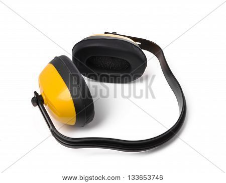 Yellow earmuffs isolated on white background. protective equipment.