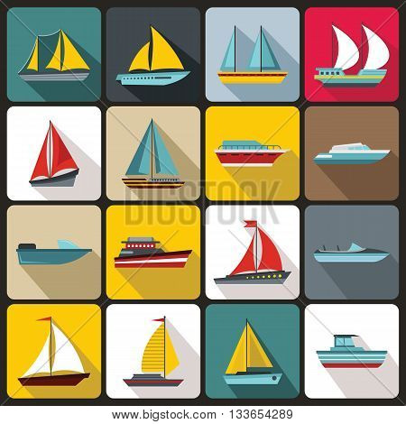 Boat and ship icons set in flat style for any design