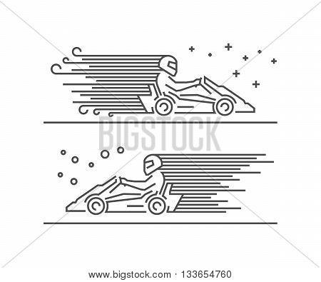 Cool line go kart symbol. Modern outline karting logo. Vector line kart icons.