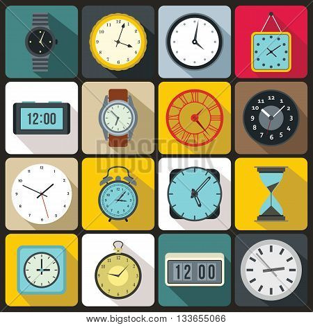 Time and Clock icons set in flat style for any design
