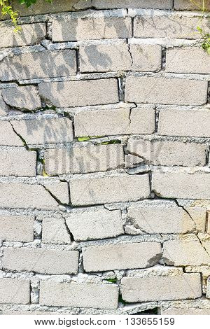 closeup of not safe wall with cracks, easy to be destroyed