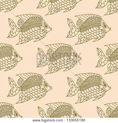 Fish Engraved Seamless Pattern. Vector tender illustration.