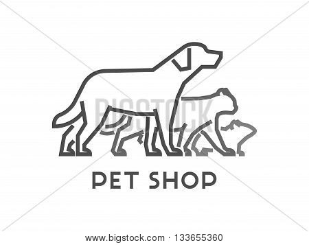 Line vector symbol for pet shop with open path. Outline dog and cat. Modern logo pet store on white background.