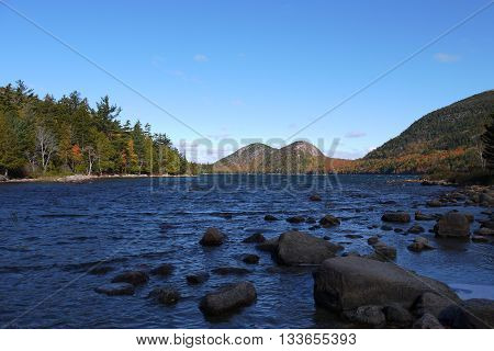 The Bubbles, from the south of Jordan Pond, Acadia National Park, Maine, USA