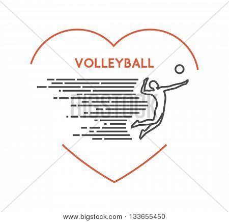 Line vector symbol for volleyball with open path. I love volleyball. Outline figure volleyball player. Stylish logo volleyball on white background.