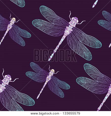 Seamless vector pattern with blue shiny dragonfly on a dark plum background. Elegant decoration. Can be used for wallpaper, pattern fills, web page background, surface textures. Vector night design.