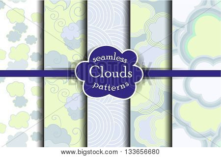 Blue sky and clouds seamless pattern set. Vector illustration. Tender heaven collection.