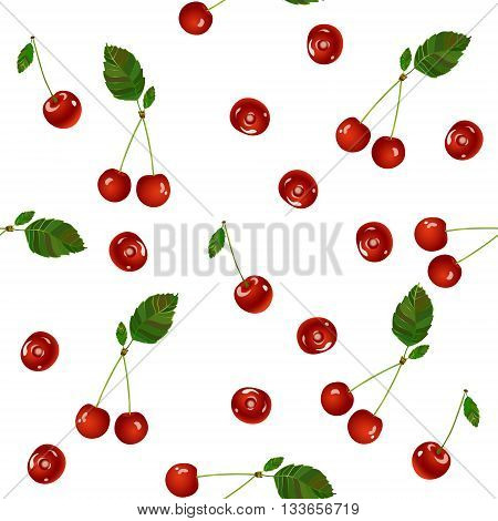 Cherry seamless pattern. Realistic illustration of red cherries Vector texture for textile, wrapping, wallpapers and other surfaces. Sweet merry.