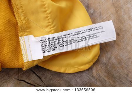 Empty clothing and garment labels and tags
