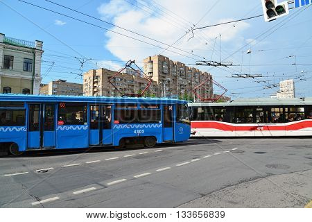 Moscow, Russia - June 03.2016. Tramat a crossroads in front of the subway Krasnoselskaya