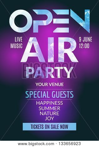 Open Air Party template design. Open Air poster flyer design with sky clouds. Music festival.