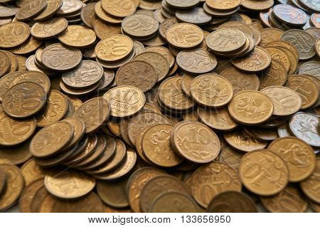 lot of Russian coins of ten cents.